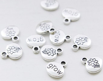30pcs Oxidized Silver Base Metal Charms-Grow Sign 13x11mm (9889Y-B-288)