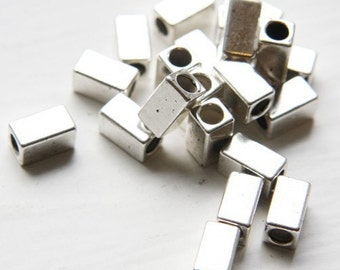 30pcs Oxidized  Silver Tone Base Metal Spacers-Tube 10x5.5mm (457X-D-180A)