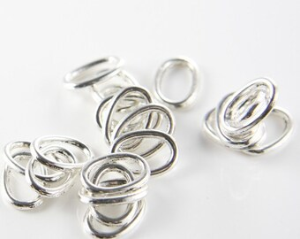 50pcs Oxidized Silver Tone Base Metal Rings-Oval 14x10mm (9833Y-F-277A)