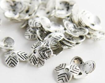 60pcs Oxidized Silver Tone Base Metal Caps-10x2mm (839X-K-119A)