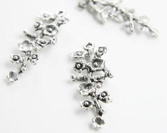 8pcs Oxidized Silver Tone Base Metal Charms-Flower 42x17mm (12975Y-C-93)