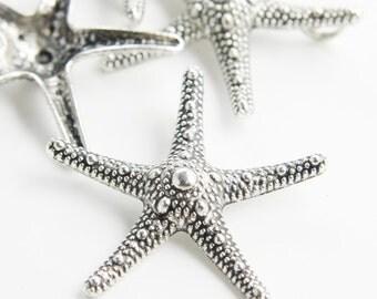 4pcs Oxidized Silver Tone Base Metal Charms-Starfish 37x37mm (12686Y-C-62)