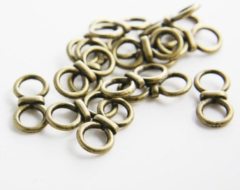 20pcs Antique Brass Tone Base Metal Links-20x10mm (9650Y-D-25B)