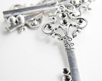 4pcs Oxidized Silver Tone Base Metal Pendants-Key with Rhinestone Holes 76x36mm (12695Y-E-327)