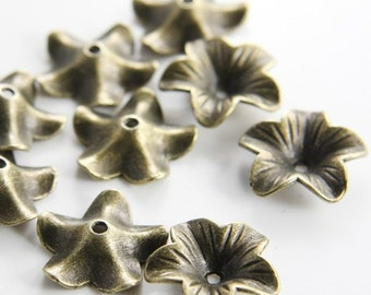 16pcs Antique Brass Tone Base Metal Caps-Flower 17x4.5mm (11022Y-K-14B)