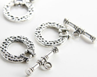 6 Sets Oxidized Silver Tone Base Metal Clasps-Toggle (11101Y-K-186A)