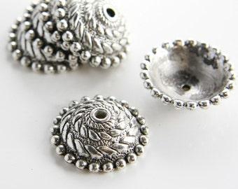 6pcs Oxidized Silver Tone Base Metal Caps-27x8mm (11790Y-K-112A)