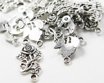 20pcs Oxidized Silver Tone Base Metal Links-Flower 25x12.5mm (8344Y-D-291A)