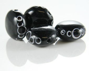 6pcs limited edition lampworked glass beads-Disk 16x9mm (1Z-3)