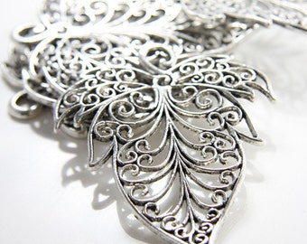 2pcs Oxidized Silver Tone Base Metal Charms-Leaf 74x56mm (11755Y-C-49)