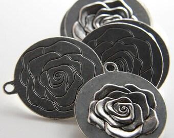 6pcs Oxidized Silver Base Metal - Rose 32mm (12708Y-D-262A)