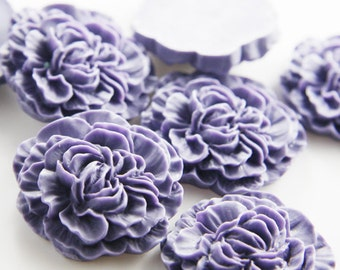 4pcs Acrylic Flower Cabochons-Dark Purple 33mm (F0014-A-117)