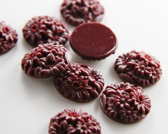 8pcs Acrylic Flower Cabochons-Wine Red 20mm (71F10)