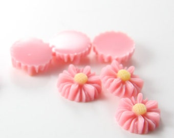 6pcs Acrylic Flower Cabochons-Pink with Yellow 14mm (16F2)