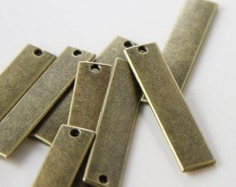 8pcs Antique Brass Tone Base Metal Charms-Rectangle 40x9mm (1042X-H-178B)