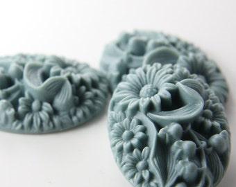 4pcs Acrylic Flower Cabochons-Gray 41x32mm (F0011-A-94)