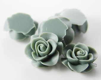 8pcs Acrylic Flower Cabochons-Gray 20mm (2F5)
