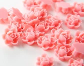10pcs Acrylic Flower Cabochons-Pink 12mm (52F2)
