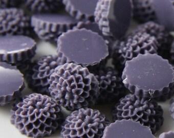 10pcs Acrylic Flower Cabochons-Purple 10mm (9F11)