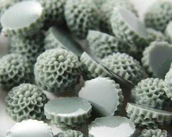 10pcs Acrylic Flower Cabochons-Gray 10mm (9F5)W