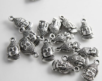 16pcs Oxidized Silver Tone Base Metal Charms-Buddha Head 16x8mm (14283Y-P-54A)