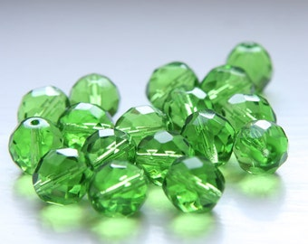 10pcs Czech Fire Polish Faceted Round-Transparent Green 12mm (FP12078)