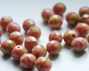 10pcs Czech Fire Polish Faceted Round-Rose and Olive Stripe 10mm (FP10555)