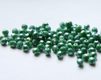 100pcs Czech Fire Polish Glass Faceted Round-Opaque Medium Green Silk Luster 4mm (FP4741)