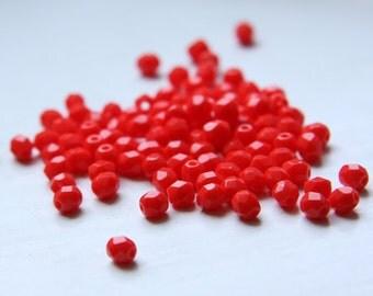 100pcs Czech Fire Polish Glass Faceted Round-Opaque Medium Red 4mm (FP4443)