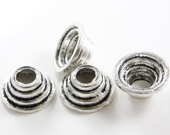 4pcs Oxidized Silver Tone Base Metal Caps-26x12mm (1583X-D-283A)