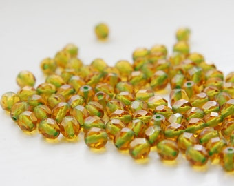 50pcs Czech Fire Polish Faceted Round-Transparent Topaz and Light Green Lined 6mm (FP6249)
