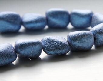 4pcs Czech Glass Near Rectangle-Opaque Metallic Blue 18x15mm (PG041703)
