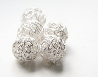 2 Pieces Bright Sterling Silver Wired Ball-Round 15mm