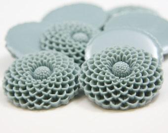 4pcs Acrylic Flower Cabochons - Blue Green 34mm (F0001-A-01)