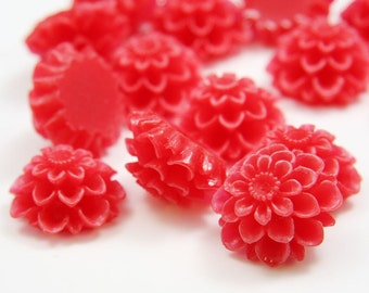 6pcs Acrylic Flower Cabochons - Red 19mm (63F6)