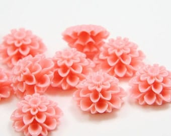 6pcs Acrylic Flower Cabochons- Pink 19mm (63F2)