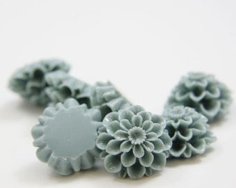 6pcs Acrylic Flower Cabochons-Blue Green 19mm (63F4)