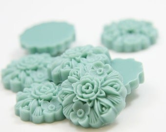 8pcs Acrylic Flower Cabochons- Light  Turquoise 23mm (61F18)