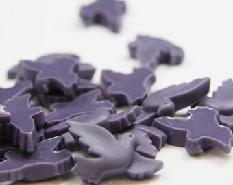 10pcs Acrylic Bird Cabochons-Dark Purple 21x13mm (45F11)