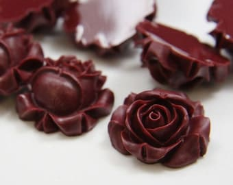 6pcs Acrylic Flower Cabochons-Wine Red 26mm (F0004-A-33)
