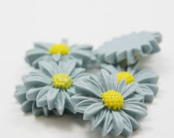 6pcs Acrylic Flower Cabochons-Blue Green and Yellow 28mm (F0007-A-64)