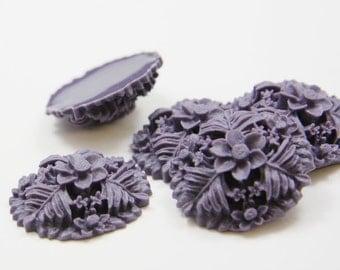 6pcs Acrylic Flower Cabochons-Purple 29mm  (F0013-A-104)