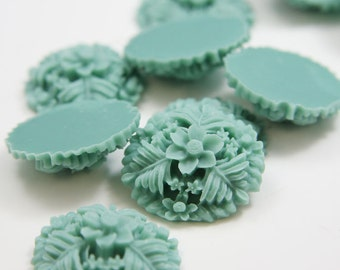 6pcs Acrylic Flower Cabochons-Turquoise2  29mm  (F0013-A-106)