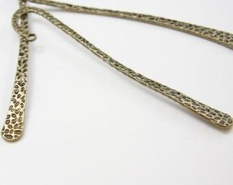 2pcs Antique Brass Tone Base Metal Bookmarks-120x20mm (11494Y-D-258)