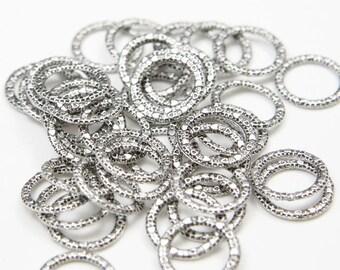60pcs Oxidized Silver Tone Base Metal Rings-14mm (1Y-B-296)