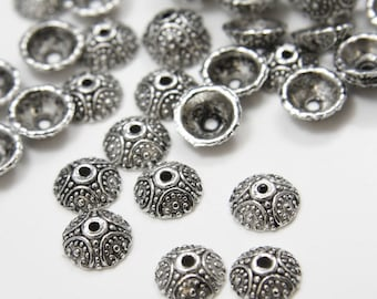 60pcs Oxidized Silver Tone Base Metal Caps-10x3mm (531Y-K-27A)