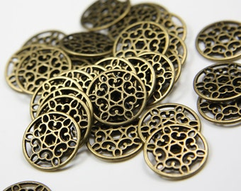 30pcs Antique Brass Tone Base Metal Ring-16mm (13984Y-E-39B)