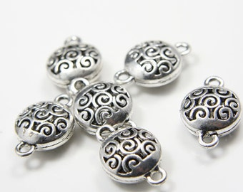 6pcs Oxidized Silver Tone Base Metal Links-23x16mm (12478Y-E-277A)