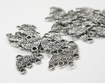 20pcs Oxidized Silver Tone Base Metal 3 to 1 component or earring findings - 15x15mm (11357Y-B-223)