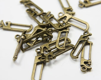 20pcs Antique Brass Tone Base Metal Charms-saw 25x7mm (11040Y-B-66B)